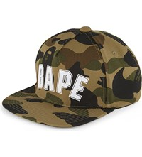 A Bathing Ape Logo Camouflage Cotton Snapback Cap Camo Green