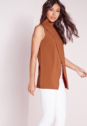 Missguided High Neck Asymmetric Detail Blouse Rust Brown