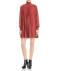 Tracy Reese Pleated Turtleneck Dress Russet