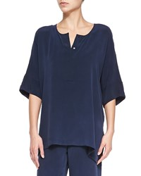 Go Silk Silk Dolman Sleeve Tunic Navy Women's
