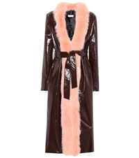 Attico Exclusive To Mytheresa.Com Vivian Fur Trimmed Coat Brown