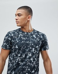 Solid T Shirt With Floral Print Grey