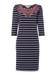 Dickins And Jones Esther Embroidered Jersey Dress Navy Stripe