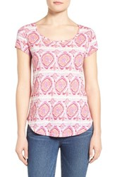 Lucky Brand Women's Print Scoop Neck Tee Coral Multi