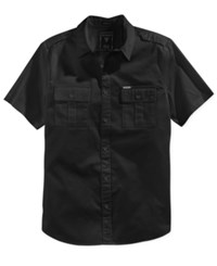 Guess Men's Cypress Short Sleeve Military Shirt Jet Black