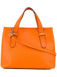 Borbonese Double Handle Tote Bag Women Leather One Size Yellow Orange