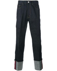 Gucci Jeans With Web Detail And Oversized Cuffs Blue Red Denim Green White