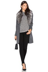 Sam. Crosby Coat With Fox Fur Trim Charcoal