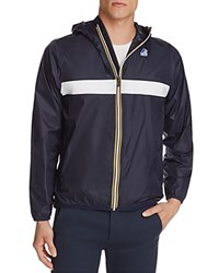 K Way Chest Stripe Zip Windbreaker Jacket Blue