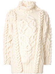 Spencer Vladimir Cable Knit Oversized Sweater White