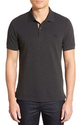 Men's Burberry Brit 'Oxford' Short Sleeve Polo Dark Charcoal Melange