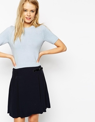 Asos Knitted Crop Top With Open Back Paleblue