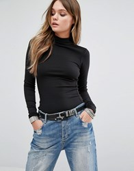 G Star Be Raw Top With Leather Look Panel And Funnel Neck Black