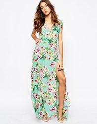 Yumi Kim Plunge Neck Silk Maxi Dress In Ombre Floral Print Aqua