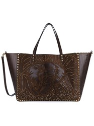 Valentino Garavani Rockstud Reversible Elephant Embossed Leather Bag Brown