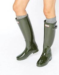 Hunter Original Refined Gloss Dark Olive Tall Wellington Boots Dark Olive Green