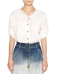 Tomas Maier Airy Poplin Button Front Blouse White
