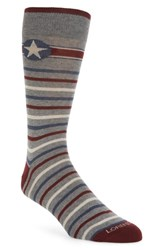 Lorenzo Uomo Grey Star Crew Socks Light Grey