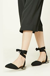 Forever 21 Strappy Faux Suede Flats Black