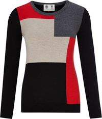 Austin Reed Pure Merino Colour Block Jumper Multi Coloured