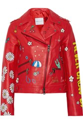 Mira Mikati Never Grow Up Painted Leather Biker Jacket Red