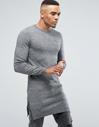 Asos Muscle Fit Super Longline Crew Neck With Side Splits Blk Wht Twist Grey