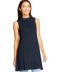 Eyeshadow Juniors' Sleeveless Mock Neck Tunic Navy
