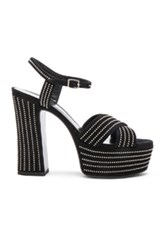 Saint Laurent Candy Studded Suede Platform Sandals In Black
