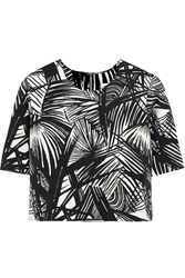 Elizabeth And James Lowell Cropped Printed Stretch Scuba Jersey Top