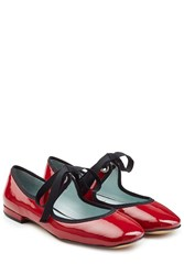 Marc Jacobs Lisa Mary Jane Patent Leather Ballerinas Red