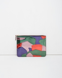Comme Des Garcons Metallic Patchwork Large Zip Pouch Multicolor