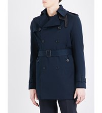 Sandro Double Breasted Cotton Trench Coat Navy Blue