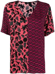 Paul Smith Ps Printed Panel V Neck T Shirt Pink