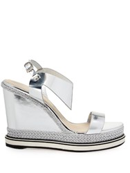 Nicholas Kirkwood Leda Leather And Espadrille Wedge Sandals Silver
