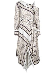 Jonathan Simkhai Off The Shoulder Scarf Print Dress White
