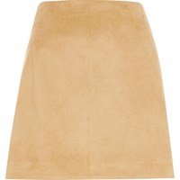 River Island Womens Tan Faux Suede Stitch Mini Skirt