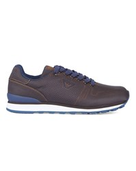 Armani Jeans Brown Thermoformed Printed Running Shoes