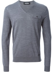 Dsquared2 V Neck Sweater Grey