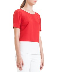 Akris Punto Colorblock Pleated Silk Blouse Rouge Creme
