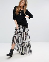 Religion Tiered Maxi Skirt In Abstract Print White