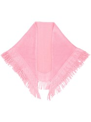 Balmain Vintage Fringed Shawl Pink And Purple
