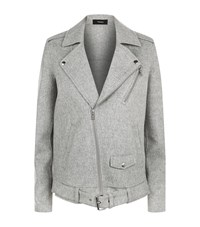 Theory Tralsmin Wool Cashmere Biker Jacket Female Grey
