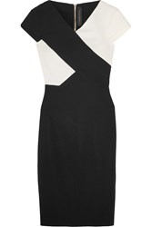 Roland Mouret Tourney Two Tone Stretch Crepe Dress Black