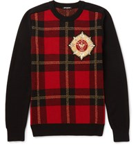 Balmain Appliqued Intaria Wool Blend Weater Red