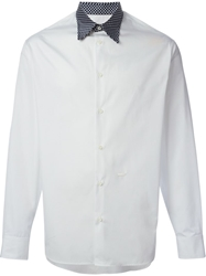 Dsquared2 Contrasted Polka Dot Collar Shirt White
