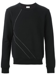Saint Laurent Studded Seam Sweatshirt Black