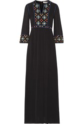 Tory Burch Jordana Embellished Silk Georgette Maxi Dress Black