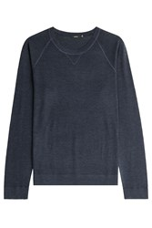 Vince Long Sleeved Wool Silk Top Blue