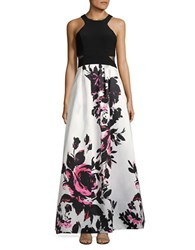 Xscape Evenings Sleeveless Floral Print Gown Black White Pink