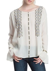 Plenty By Tracy Reese Embroidered Bell Sleeve Blouse Ivory